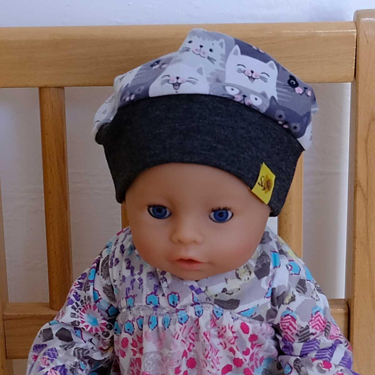 """Puppen-Model mit Bündchenhaube für Babys, Kinder und Erwachsene mit Muster """"Katzen - Cool Cats"""""""