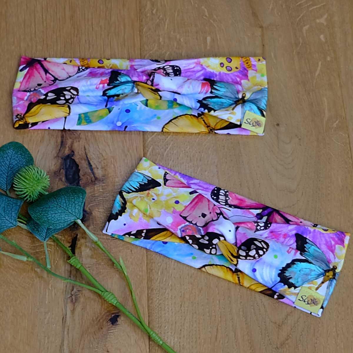 """stylisches Knoten-Stirnband aus Jersey für Kinder und Erwachsene mit Muster """"Schmetterlinge"""""""