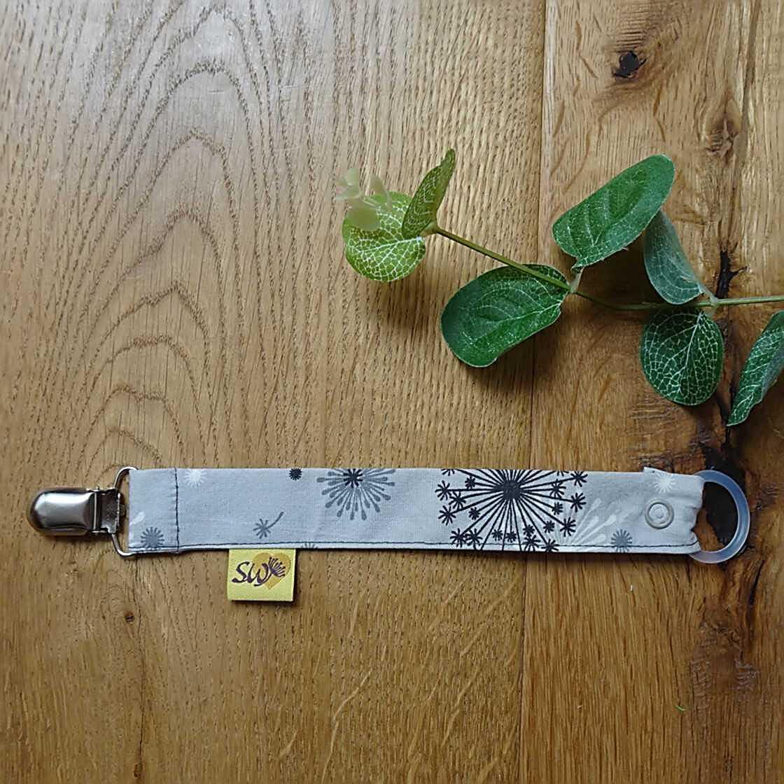 Schnullerband Pusteblume grau mit Schnuller-Adapter und Druckknopf