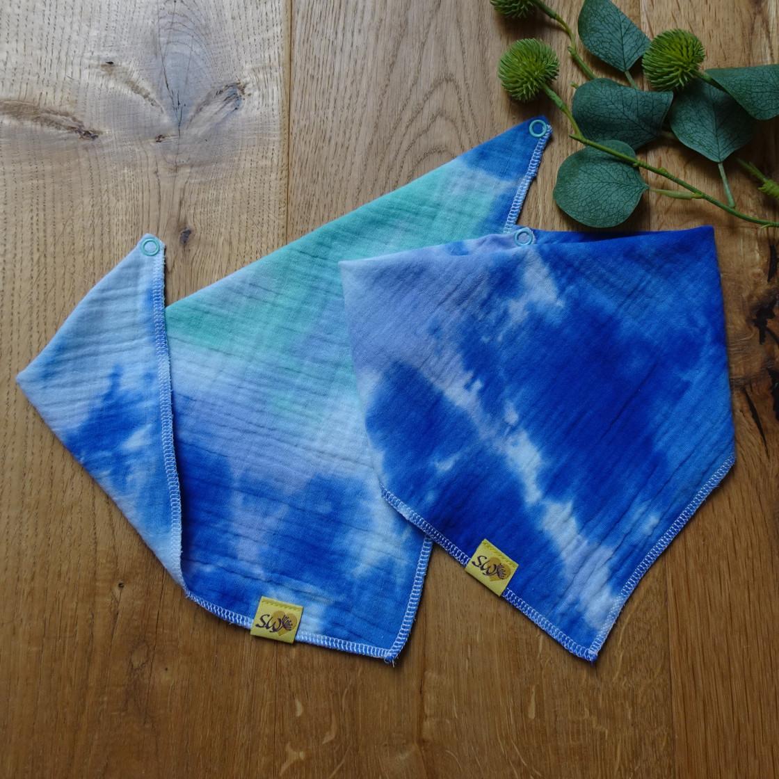 """weiches, saugfähiges Baby-Musselin-Halstuch mit Muster """"Batik blau, mint, weiß"""""""