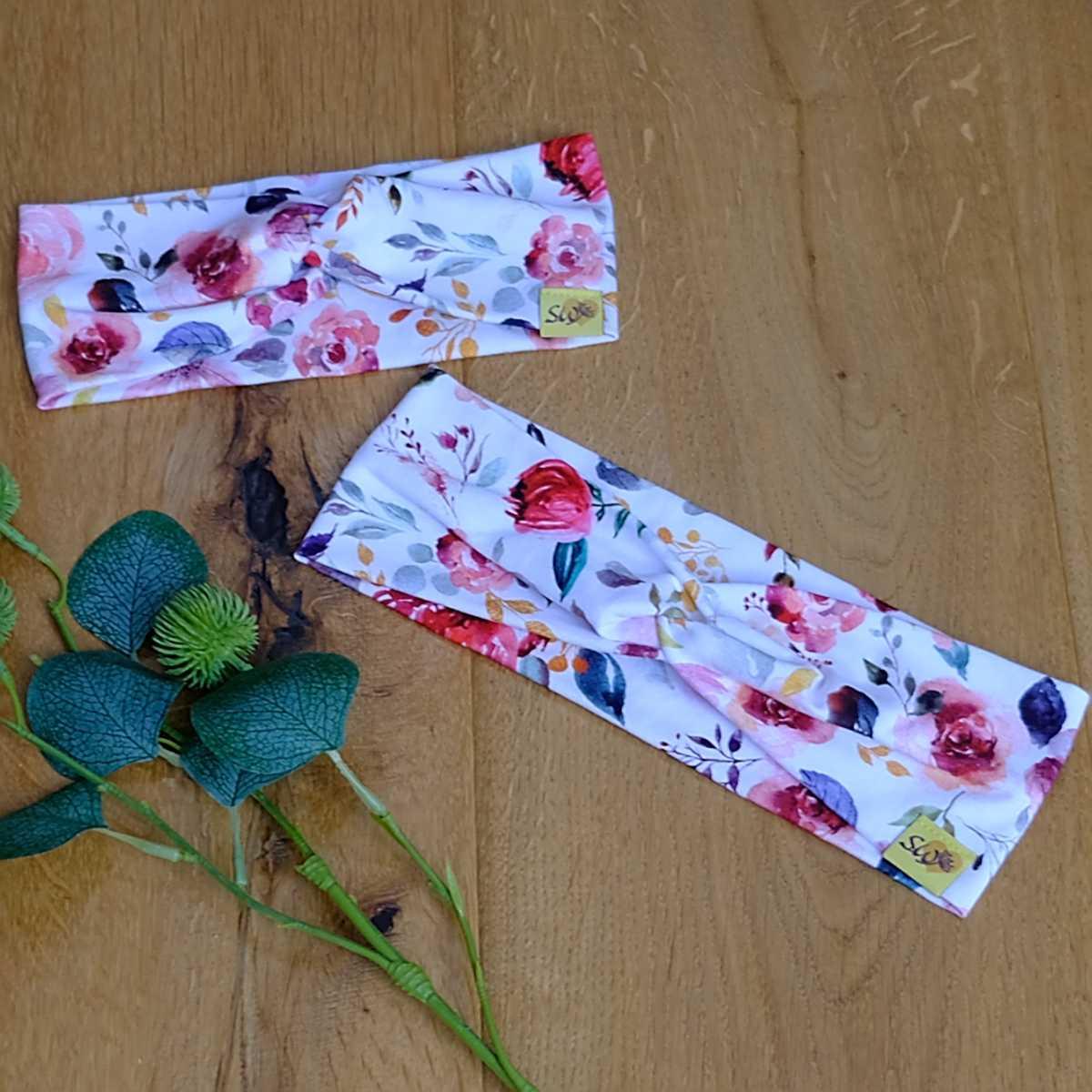 """stylisches Knoten-Stirnband aus Jersey für Kinder und Erwachsene mit Muster """"Flowers"""""""""""