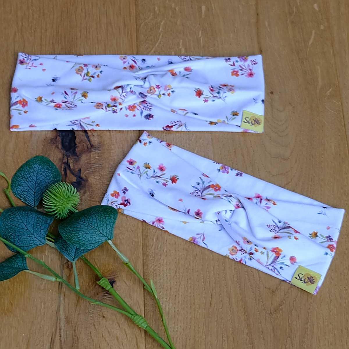 """stylisches Knoten-Stirnband aus Jersey für Kinder und Erwachsene mit Muster """"Blumenstrauss"""""""