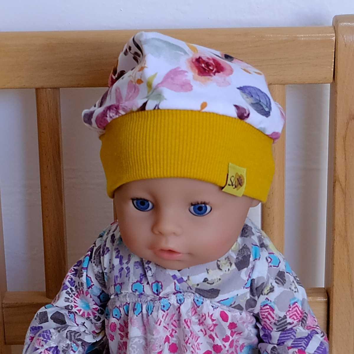 """Puppen-Model mit Bündchenhaube für Babys, Kinder und Erwachsene mit Muster """"Flowers"""""""
