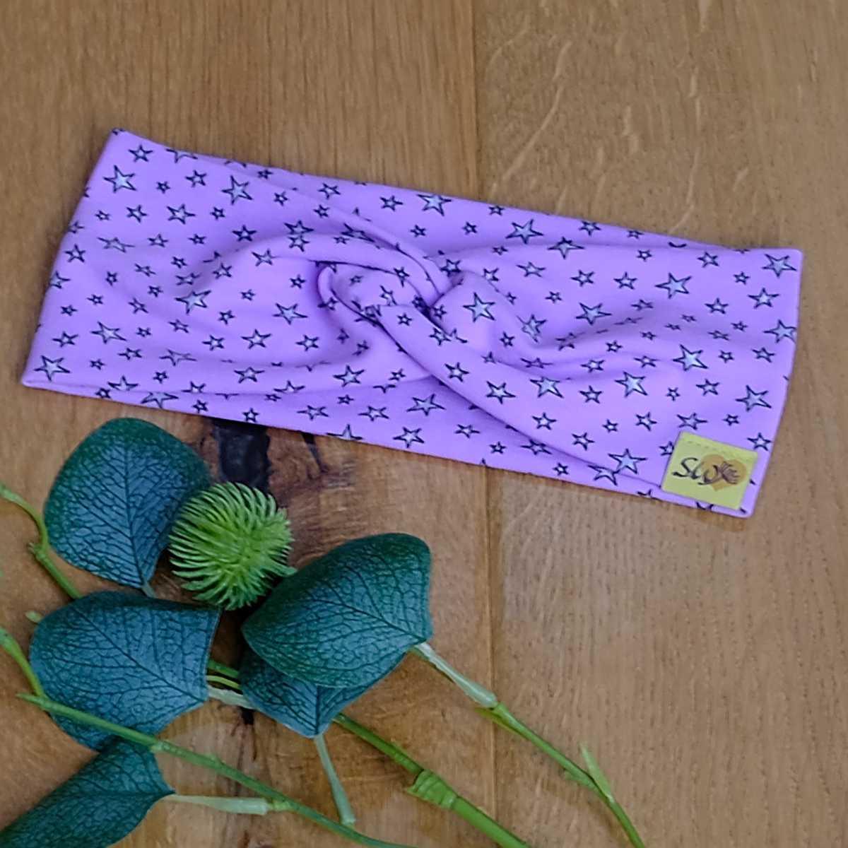 """stylisches Knoten-Stirnband aus Jersey für Kinder und Erwachsene mit Muster """"Sterne auf flieder"""""""